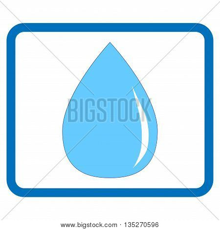 Sign drop. Blue icon isolated on white background. Symbol of a single water spot. Colorfull element in frame. Light silhouette. Mark with volume effect. Stock vector illustration