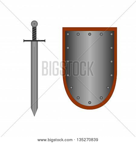 Set of sign shield and sword silver. Combat icon isolated on white background. Mark with volume effect. Symbol of a steel elements. Logo for military and security. Stock vector illustration