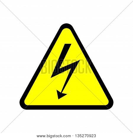 Sign danger. Warning arrow in triangle icon isolated on white background. Color hazard image. Dangerous area symbol. High voltage plane mark. Stock vector illustration