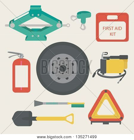 Tow rope, first aid kit, fire extinguisher, spare wheel, shovel, brush and scraper, warning triangle, car air compressor. Vector illustration.