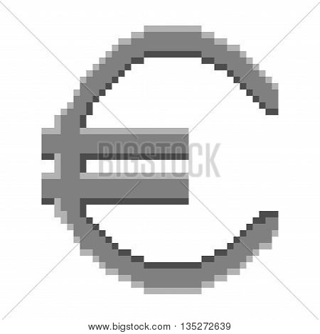 Sign pixel euro grey. Monochrome icon isolated on white background. Pixelated design. Logo for business. Europe finance symbol made of pixels. Mark of commerce. Stock vector illustration