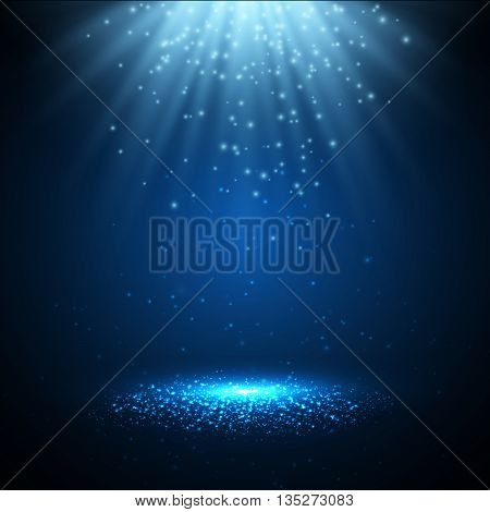 Vector spotlight with magic lights and rays of light. Magic background. Vector illustration