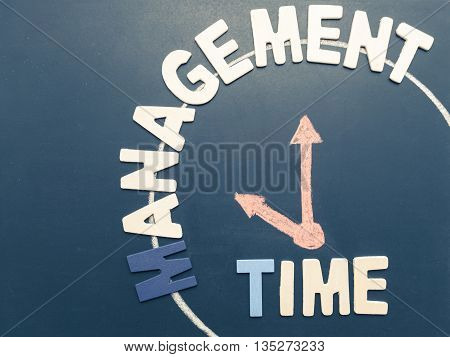 Time Management wording and hand writing clock at 10 am on blackboard in vintage filter tone - business concept of time management