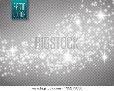 Vector gold glitter wave abstract background. Silver glittering star dust trail sparkling particles on transparent background. Magic background