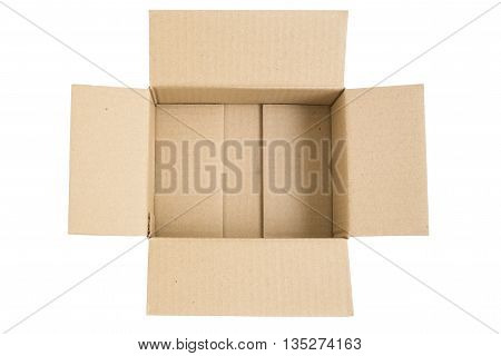Isolated open brown paper card box - open brown box made from cardboard isolated object on white background