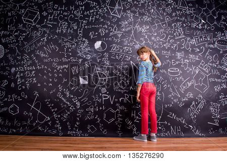 Girl With Two Braids, Writing On A Big Blackboard