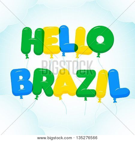 Balloon Lettering colorful Hello Rio text. Rounded semi-transparent bubble cartoon letters on a blue sky background with clouds. Vector illustration. Travel and vacation theme.