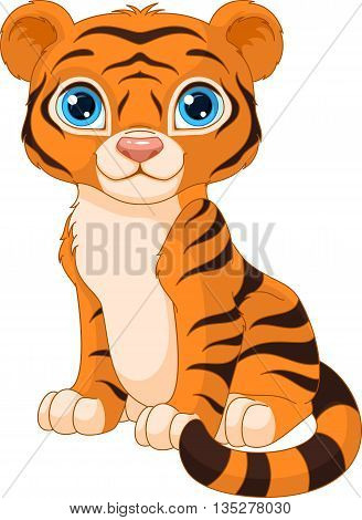 Tiger cub sits on white background, EPS 8