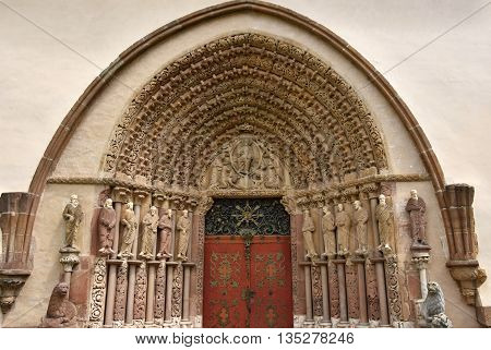 Porta Coeli. Gothic Portal Of The Romanesque-gothic Basilica Of The Assumption Of The Virgin Mary, C