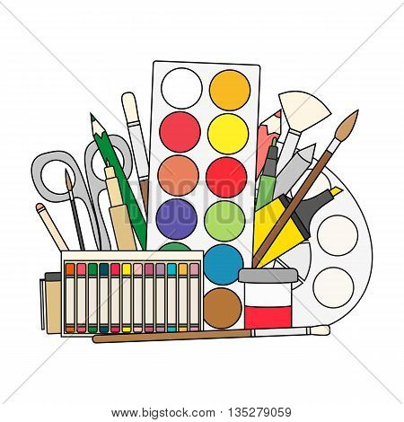 Art and back to school Supplies- paint brushes pencils paint liners. Doodle vector illustration.