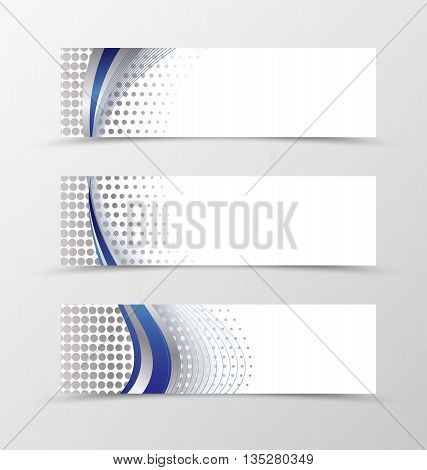 Set of banner design. Banner for header. Design of banner in silver style. Silver banner with blue wave design