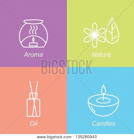 Set aromatherapy symbols. The emblem or logo aromatherapy candles nature oil. Vector illustration.