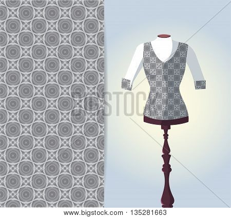 Vector fashion illustration women's vest on a dummy hand drawn seamless geometric pattern isolated elements for invitation card design. Seamless fabric texture