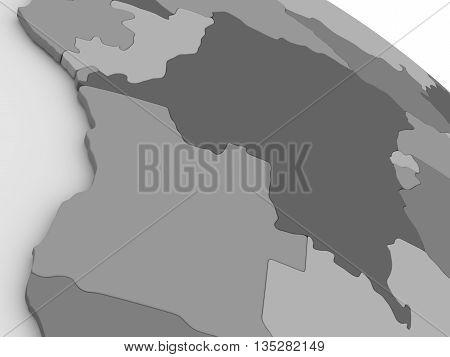 Democratic Republic Of Congo On Grey 3D Map