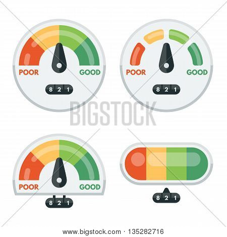 Set of credit score indicators and gauges. Measurement level, display pressure, minimum and maximum illustration. Vector flat illustration.