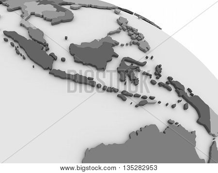 Indonesia On Grey 3D Map