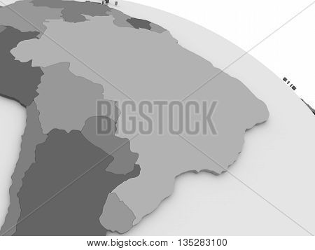 Brazil On Grey 3D Map