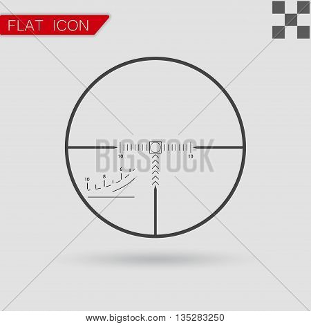 Vector sniper black finder target illustration Flat Style with red mark