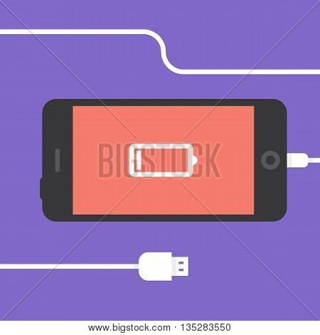 Low battery. Phone charging, flat icon isolated on a purple. Concept background design