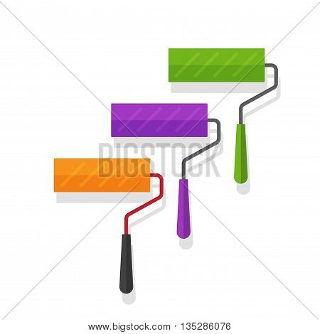 Paint roller vector illustration isolated, set of colorful paint rollers on white background