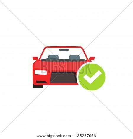 Red car with green checkmark icon, concept of car check test passed, auto diagnostic service vector emblem isolated on white background
