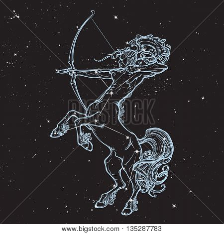 Rearing Centaur holding bow and arrow. Boho style look. Black nightsky background with stars. Zodiac sign. Astrology design. EPS10 vector illustration