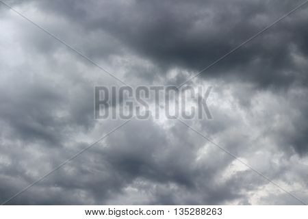 Thunderclouds over horizon cloudscape storm. Cloudy sky background.