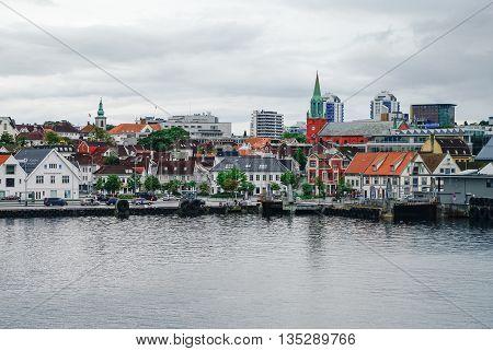 Stavanger, Norway -September 18, 2011: Cityscape of Stavanger down town