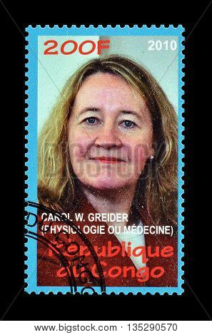 CONGO - CIRCA 2010 : Cancelled postage stamp printed by Congo, that shows Carol Greider.