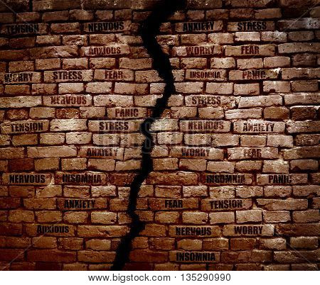 Crack in a brick wall with Stress anxiety and various related messages
