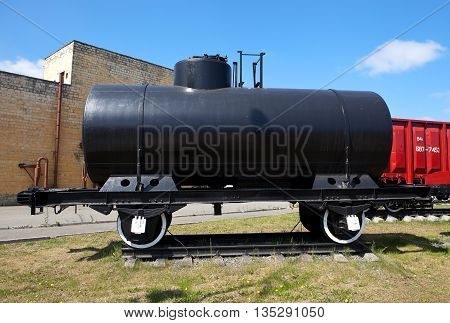 NIZHNIY TAGIL, RUSSIA - JUNE 1, 2016: Photo of Railway tank car with automatic coupling dvuhsnaya ustrystv capacity of 25 cubic meters. Museum