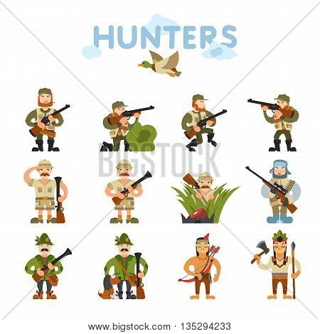 Hunters vector illustration. Hunters isolated on white background. Hunters vector icon illustration. Hunters isolated vector. Hunters silhouette. Hunters in cartoon style. Hunters with different gear.