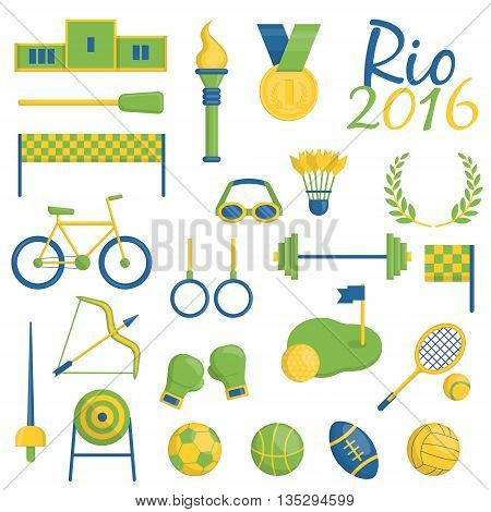 A set of Rio de Janeiro Brazilian flag color themed sport icons devoted to rio 2016 sports events in brazil. Sports competition items, medals, inventory and symbols.