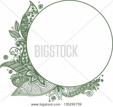 Floral frame. Hand drawn zentangle. Vector illustration.