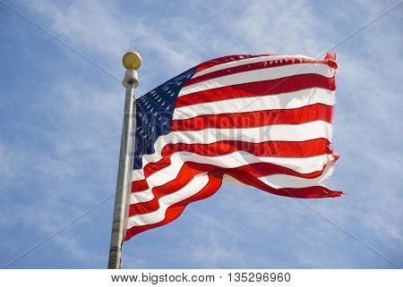 American flag - Star spangled banner on a pole