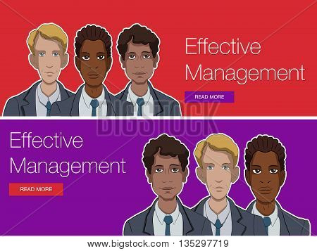 Vector template banner for website header, advertisement. Cartoon characters with quote bubble. Set banner background for website. Website header promotion banner. Office manager for workshop training