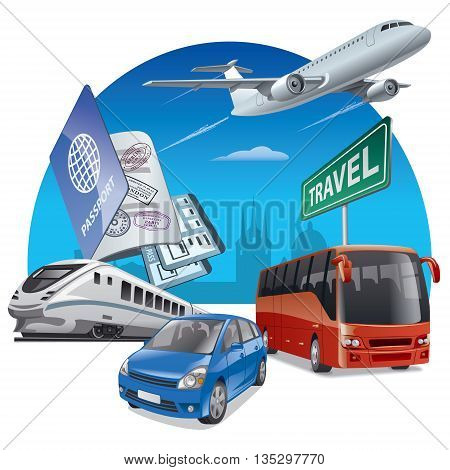 concept illustration of travel and transport car airplane bus and train
