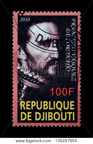 DJIBOUTI - CIRCA 2010 : Cancelled postage stamp printed by Djibouti, that shows Francisco Vasquez.
