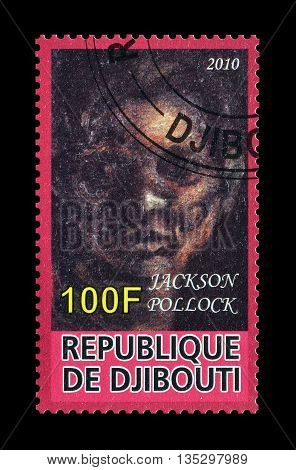 DJIBOUTI - CIRCA 2010 : Cancelled postage stamp printed by Djibouti, that shows painting by Jackson Pollock.