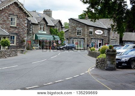 GRASMERE, UK - JUNE 20, 2016: The beautiful village of Grasser, in central lake district, Grasmere, Cumbria, UK