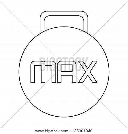 simple black line kettlebell with the word max in the center vector illustration