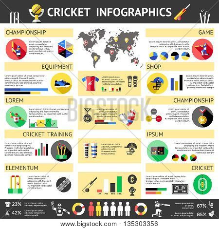 Cricket Colored Infographics with headlines of game champion sport cricket fitness cricket sport champion vector illustration