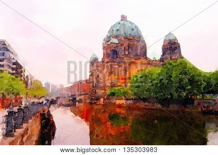 Beautiful painting of the Berlin Dome in early Morning