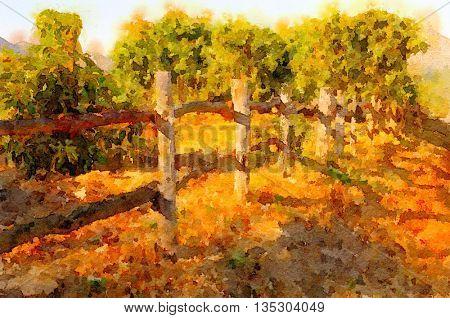 Beautiful Painting Of a California Avacado orchard