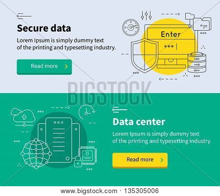 Two horizontal datacenter banner set with headlines secure data and data center vector illustration