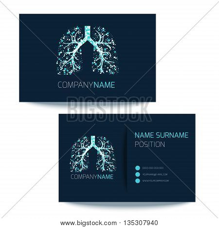 Medical business card template with lungs filled with air bubbles on dark background. Vector lungs logo graphic design for pulmonary clinics and medical centers. Medical card corporate identity.