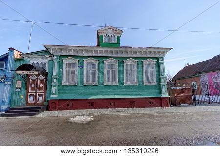 Gorodets Russia. - March 10.2016. Gallery Dobra on Street Quay Revolution.. Gorodets. Nizhny Novgorod Region. Russia