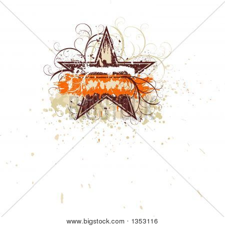 vector illustration of grunge floral frame (star) poster