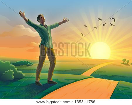 Happy man with open arms in a beautiful sunset landscape. Digital illustration.