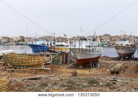 Damietta Egypt - May 13 2016: Wooden ship factory Ezbet El-Borg.